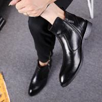 切尔西靴男士英伦高帮皮鞋男尖头冬季马丁靴韩版潮流内增高短靴子
