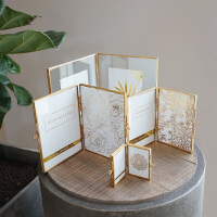7寸复古铁艺创意双折叠欧式玻璃相框摆台 植物标本夹画框 其他尺寸