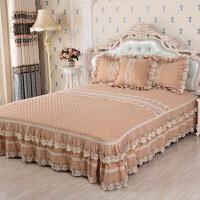 绗缝床盖三件套床单简约现代被床罩床裙床笠家装1.8m床上用品欧式 180cmX(范围200-220)cm三件套