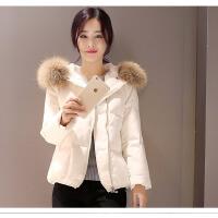 新款断码羽绒服女短款加厚大毛领韩版冬装白色短外套 S 98斤以下