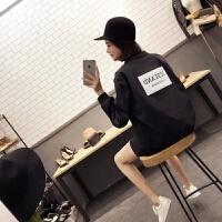 韩观2018秋季新款韩版学院风后背贴标刺绣黑白休闲外套棒球服女学生 均码