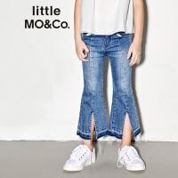 littlemoco夏季新品女童牛仔裤毛边开衩撞色微喇微弹裤子