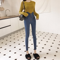 牛仔裤女秋冬新款韩版时尚高腰显瘦拉链打底紧身弹力小脚铅笔裤潮