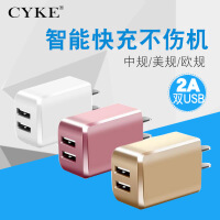 CYKE 5v2a手机平板通用充电头双口usb快速充电器定制