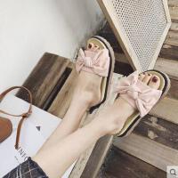 拖鞋女外穿户外新品网红同款新款韩版厚底百搭蝴蝶结时尚沙滩一字凉拖