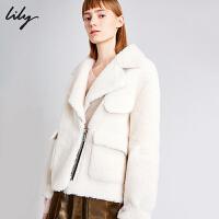 【不打烊价:653元】 Lily2019冬新款帅气翻领宽松大廓形绒感口袋短款厚环保皮草女3958