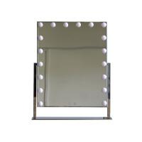 新款台式LED带灯泡化妆镜梳妆镜高清便携镜子化妆镜抖音化妆镜 银色灯黄白双色光18 镜面尺寸50*60cm
