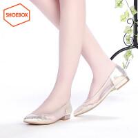 达芙妮旗下SHOEBOX/鞋柜 春秋尖头低跟水钻网纱拼接女鞋平底单鞋