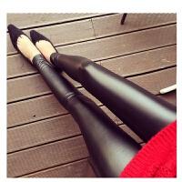 韩观皮裤女士2017春新款高腰秋冬季外穿亚光显瘦大码保暖打底裤 黑色