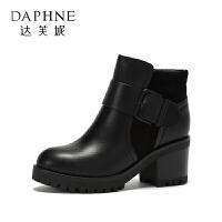 Daphne/达芙妮 冬季短靴通勤圆头高跟靴粗跟绒里时装靴女-