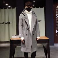 冬季新款男士风衣中长款韩版修身连帽毛呢大衣潮流休闲外套男 灰色 S