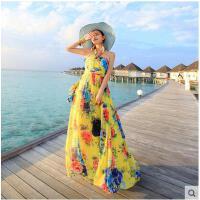 挂脖波西米亚连衣裙拖地大摆裙子休闲时尚长裙 女海边度假沙滩裙长裙女支持礼品卡支付