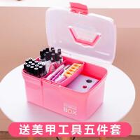 美甲工具箱子化妆品手提式大号纹绣收纳箱化妆箱护肤品收纳盒家用