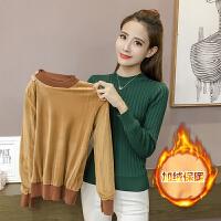 【热卖人气新品】加绒加厚针织衫2017秋冬韩版女装毛衣女修身长袖套头T恤针织衫