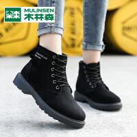 木林森2019冬新款英伦加厚保暖棉鞋女靴时尚潮流百搭短靴女士马丁靴女鞋