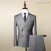 灰色条纹男士西服外套修身款商务职业套装男式双排扣西装 灰色条纹EVXF090