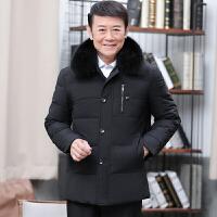 新款冬装中年男士短款休闲加厚保暖中老年狐狸毛领羽绒服男装外套 黑色 0/M
