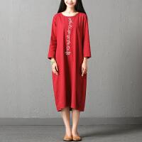 实拍秋装新款韩版大码女装圆领中长款棉麻连衣裙宽松