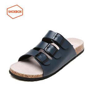 达芙妮旗下SHOEBOX/鞋柜夏季新款软木底凉拖鞋沙滩防滑休闲男鞋