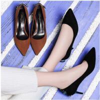 古奇天伦韩版春季单鞋尖头高跟鞋细跟性感黑色女鞋子早春新款少女百搭GT03338