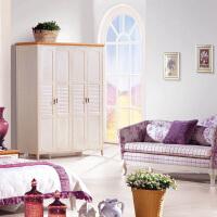 尚满 地中海系列卧室家具四门衣柜  水曲柳实木框架衣柜衣橱 仿古白大空间储物柜 水曲柳色