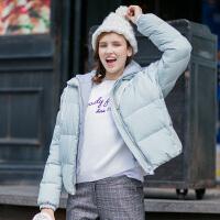 【1.5折价115元】唐狮冬装新款羽绒服 女可拆卸针织帽面包服