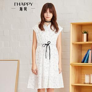海贝2018夏装新款女 衬衫领短袖抽绳收腰白色印花纯棉连衣裙短裙