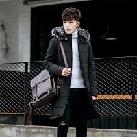 冬季男士运动棉衣休闲中长款棉袄毛领羽绒户外棉大衣加厚外套