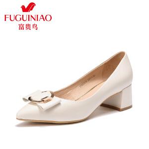 富贵鸟女鞋2017春季新款韩版女单鞋尖头浅口金属扣工作鞋