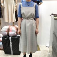 韩国ulzzang2018春新款灰色格子长裙文艺范时尚连衣裙百搭吊带裙
