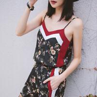 七格格小吊带背心女夏装2019新款潮撞色条纹拼接打底外穿上衣