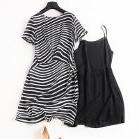 欧美夏季真丝两件套条纹宽松桑蚕丝小衫吊带百褶连衣裙6830 黑色