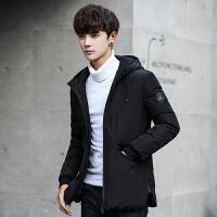 羽绒服男冬季新款加厚韩版潮流修身短款连帽男士冬装羽绒外套 黑色 M
