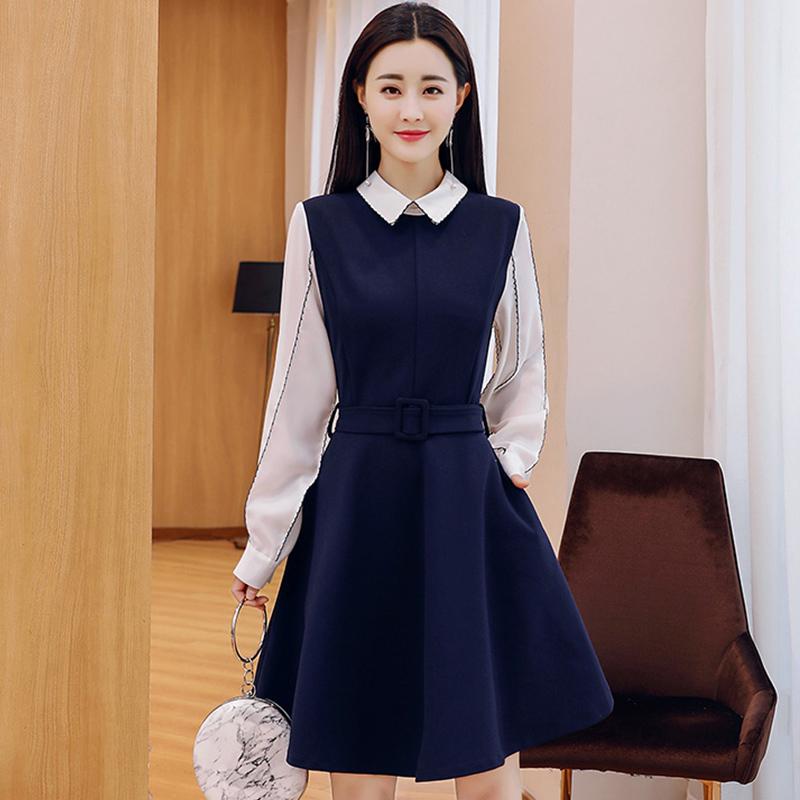 2018新款女装春装韩版裙子春季气质显瘦中长款长袖小清新连衣裙女