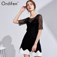 欧迪芬O+ 商场同款女士夏季薄款蕾丝衫性感假两件上衣PV8702