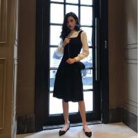 连衣裙秋装2018新款韩版复古修身长袖假两件套打底背带针织裙女潮 均码