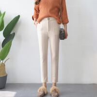 休闲裤时尚百搭潮流简约唯美长裤口袋纯色唯美2017年冬季