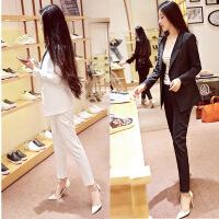 黑白西服套装女韩国时尚名媛小香风修身显瘦西装外套九分裤两件套
