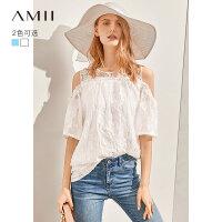 【到手价:163元】Amii极简浪漫提花雪纺衫2019夏新蕾丝美肩中袖宽松露肩雪纺衫