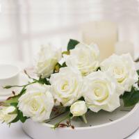 【品牌热卖】雪山玫瑰 仿真花多头玫瑰花假花装饰花绿叶客厅家居软装摆件 白色 三支