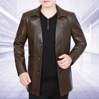 中年男装夹克衫秋季新款中年男士PU皮衣春秋韩版薄款爸爸外套