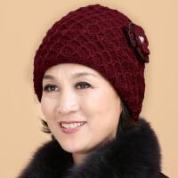 老人帽女冬天加厚妈妈保暖中老年人帽子针织老年奶奶毛线帽老太太