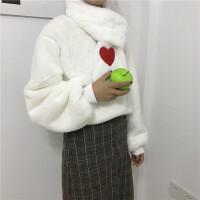 秋冬韩版宽松加绒加厚套头毛绒卫衣外套学生毛毛上衣+爱心围巾女 围巾+卫衣 均码