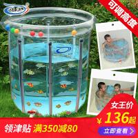 婴儿游泳池家用新生幼儿童宝宝充气保温透明支架游泳池洗澡桶