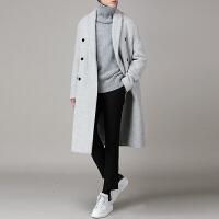 男士毛呢大衣外套中长款秋冬季韩版宽松呢大衣加厚英伦商务青年 (加棉)