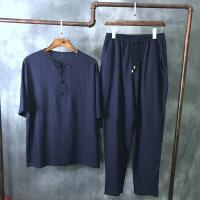 男士棉麻套装中老年唐装亚麻中式大码男装民族汉服爸爸装
