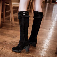 彼艾2017秋冬季磨砂骑士靴韩女长靴高跟潮女鞋皮带扣粗跟高筒靴子