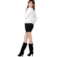 20180317133612686 女装时尚韩版OL风格靴裤短裤热裤加大码161 黑色 特大尺寸