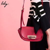 Lily春新款女装时尚欧美牛皮单肩包斜挎包117110BZ806