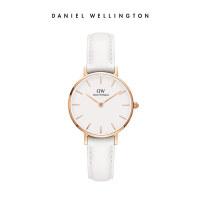 Danielwellington丹尼尔惠灵顿DW女表28mm纯白皮革表带石英女士腕表